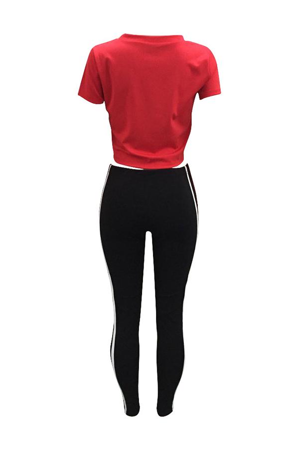 Cuello Redondo De Ocio Impreso Pantalones De Dos Piezas De Poliéster Rojo A Rayas
