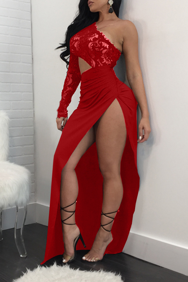 Sexy Tau Schulter High Split Red Polyester Mantel Knöchel Länge Kleid