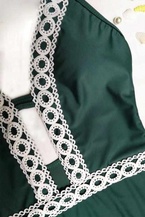 Sexy Lace Emendado Nylon Verde One-piece Swimwear