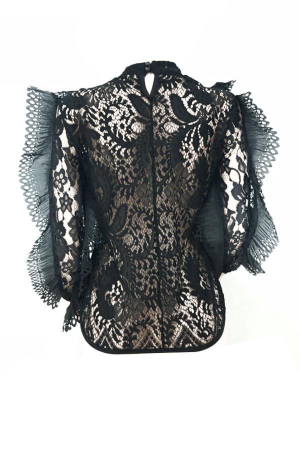 Stilvolle Rundhalsausschnitt Patchwork Durchsichtig Schwarzen Polyester-Shirts