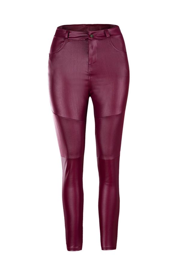 Мода Высокой Талии Вина Красные Кожаные Застежки-молнии
