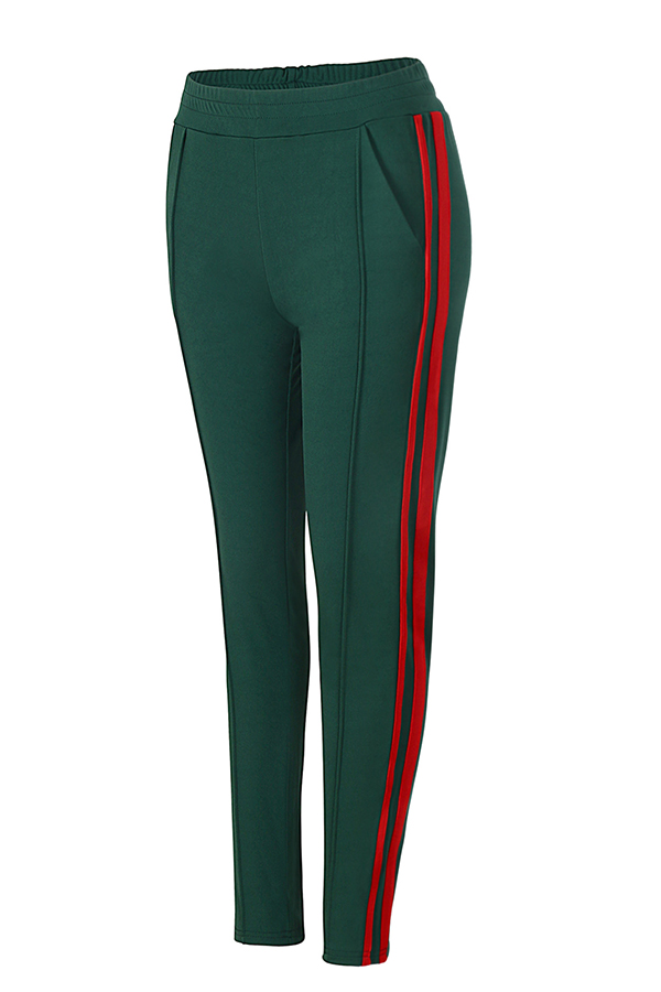 Stylish Mid Elastic Waist Striped Green Cotton Blends Pants