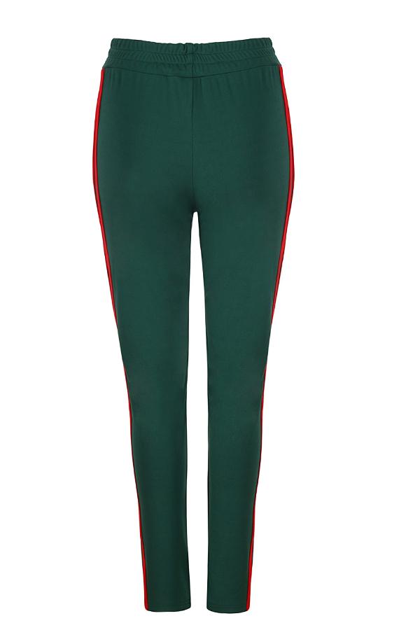 Stilvolle Mitte Elastische Taille Gestreiften Grünen Baumwollmischungen Hosen