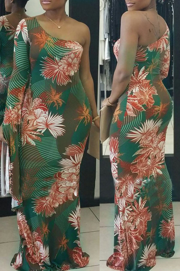Sexy Show Vestido Largo Con Estampado De Flores Y Tobillo De Tejido Saludable Para El Hombro (sin Impresión De Posicionamiento)