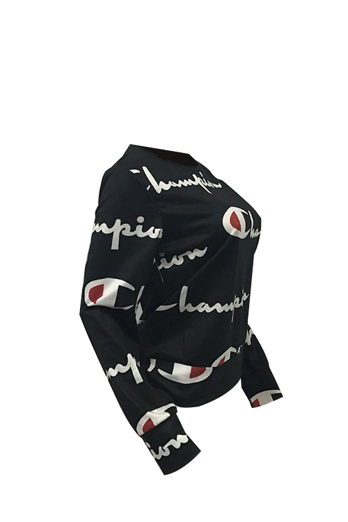 Casual Round Neck Printed Black Polyester Hoodies(Non Positioning Printing)