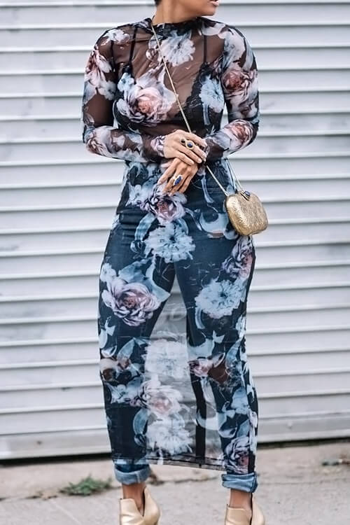 LovelySexy Round Neck See-Through Floral Printed Blue Polyester Mid Calf Dress(Non Positioning Printing)
