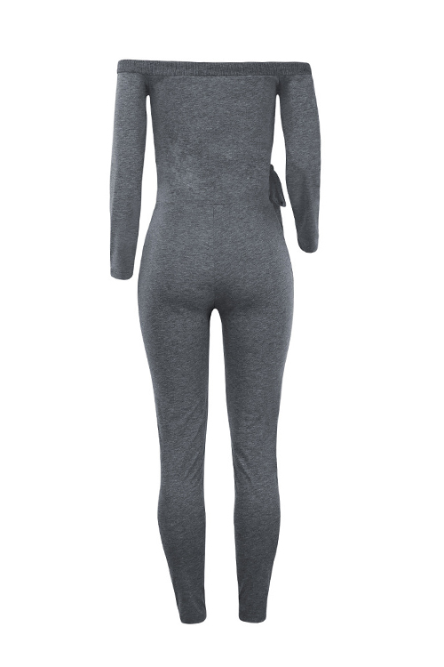 Sexy V Neck Lacing Design Dark Grey Cotton Blends One-piece Jumpsuits