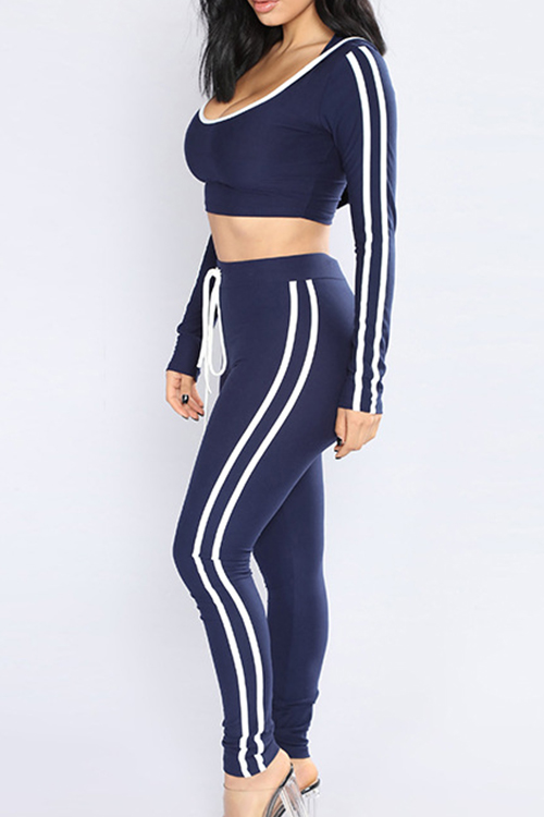 Casual Hooded Collar Striped Blue Qmilch Two-Piece Pants Set