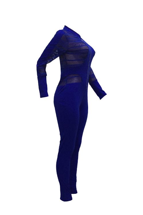 Сексуальная Шея С Длинными Рукавами Марля Лоскутное Одеяло Темно-синий Полиэстер Цельные Тощие Комбинезоны