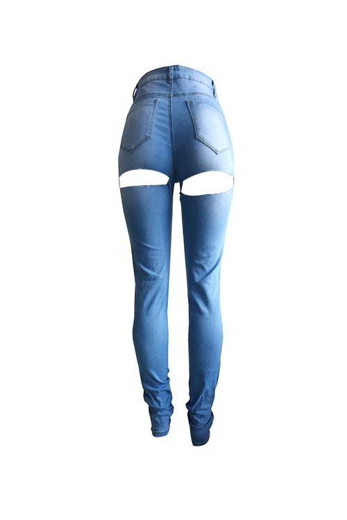 Moda Cintura Media Agujeros Rotos Mezclilla Azul Jeans Con Cremallera