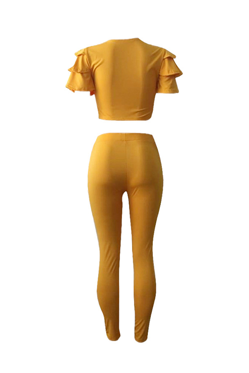 Casual Round Neck Layered Lotus Leaf Sleeves Yellow Twilled Satin Two-Piece Pants Set(Without Accessories)