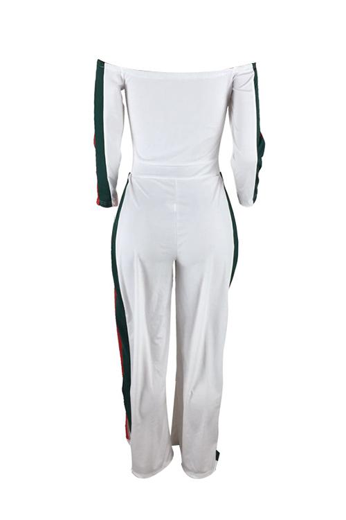 Leisure Bateau Neck Slit Design White Polyester One-piece Jumpsuits