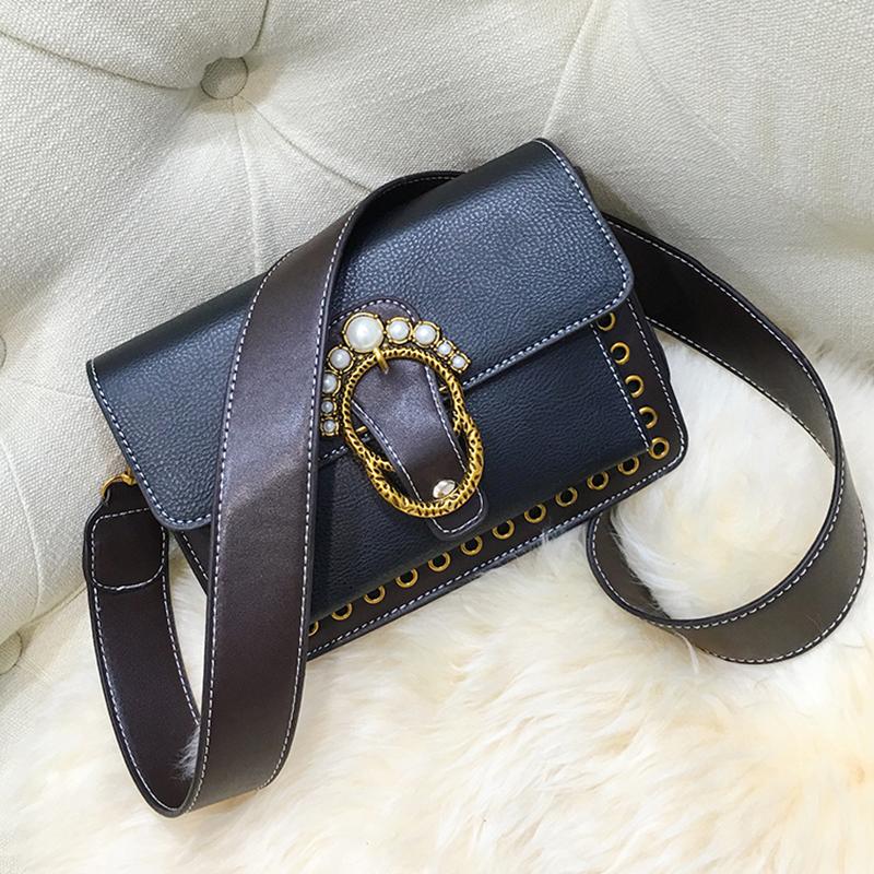 Fashion Pearl Decorative Black Leather Crossbody Bag