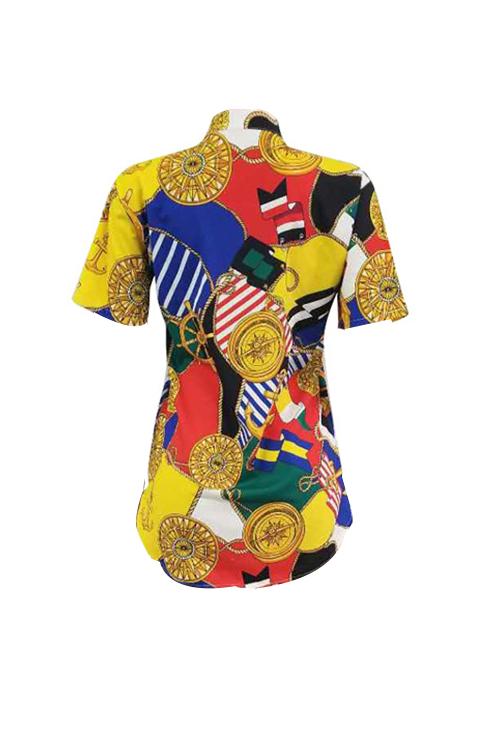 Colar Retroescavadeira Sem Posicionamento Vestido De Camisa De Poliéster Impresso (sem Cinto)