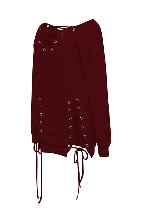 Sexy V Neck Eyelets Design Lace-up Wine Red Polyester Mini Dress