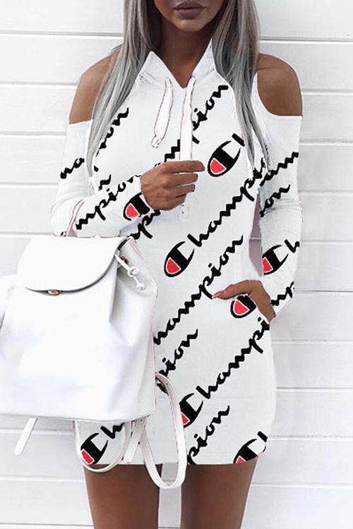 Euramerican С Капюшоном Воротник С Холодным Плечом Печатает Белый Мини-платье Из Полиэстера (без Позиционирующей Печати)