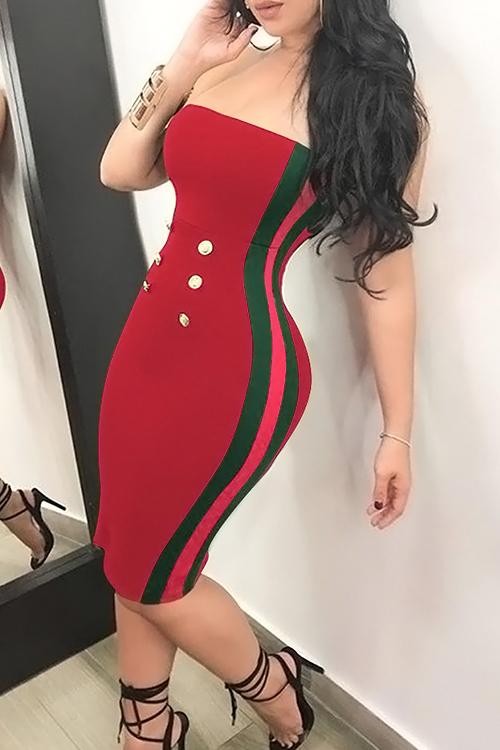 Botão Do Pescoço Sexy Do Martelo Decorativo Vestido Vermelho Listrado De Comprimento Do Joelho De Poliéster