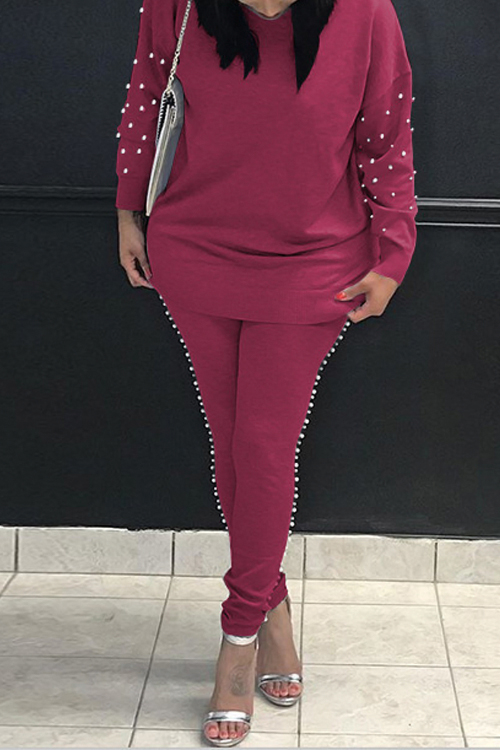 Casual Round Neck Pearl Decoration Wine Red Blending Two-Piece Pants Set