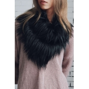 Fashionable Faux Fur Design Black Wool Scarves