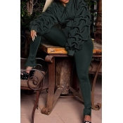 Euramerican Hooded Collar Puff Sleeves Green Polyester Two-piece Pants Set