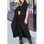 Euramerican Turndown Collar Irregular Diseño Negro Poliéster Chalecos Largos