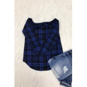 Lovely Trendy Bateau Neck Grid Printed Blue Blending Shirts