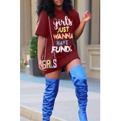 LovelyCasual Round Neck Letters Printed Wine Red Polyester Mini Dress