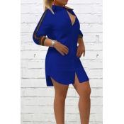Fashionable Turndown Collar Striped Blue Polyester