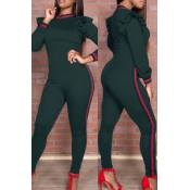 Trendy Round Neck Falbala Design Army Green Polyester One-piece Jumpsuits