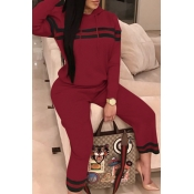 Leisure Hooded Collar Patchwork Wine Red Cotton Two-piece Pants Set