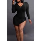 Sexy Hooded Collar Irregular Design Black Polyester Mini Dress