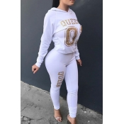 Leisure Hooded Collar Letters Printed White Twilled Satin Two-Piece Pants Set