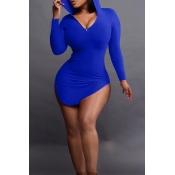 Sexy Hooded Collar Irregular Design Purplish Blue Polyester Mini Dress