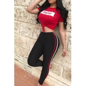 Leisure Round Neck Printed Striped Red Polyester Two-Piece Pants Set