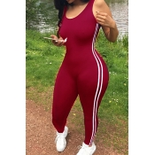 Leisure U-shaped Neck Sleeveless Patchwork Red Qmilch One-piece Skinny Jumpsuits