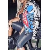 Schicker Umlegekragen Mit Langen Ärmeln, Bedruckter Blauer Polyester-Reißverschluss-Mantel