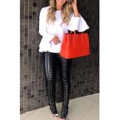 Stylish Mid Elastic Waist Lace-up Black Leather Pa