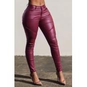 Pantalones De Moda Con Cintura Alta De Cuero Rojo Vino Con Cremallera