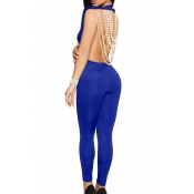 Sexy Round Neck Backless Chain Of Pearls Decoration Blue Terylene+Cotton One-piece Jumpsuits