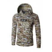Leisure Hooded collar Letters Printed Camo Cotton