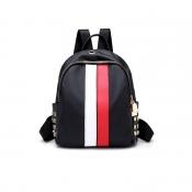 Fashion Zipper Design Striped White PU Backpacks