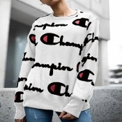 Casual Round Neck Printed White Polyester Hoodies(Non Positioning Printing)