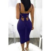 Sexy Cuello Cuadrado Sin Espalda Con Cordones De Poliéster Azul Mediados De La Pantorrilla Vestido