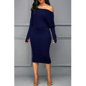 Luvas De Ombro Com Inclinação Sexy Design Royal Blues Cotton Blend Mid Mein Dress