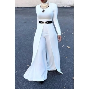 Fashion Round Neck Wide legs Design White Cotton Blends One-piece Jumpsuits(Without Accessories)