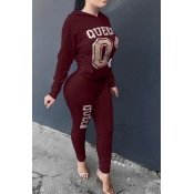 Leisure Hooded Collar Letters Printed Wine Red Twilled Satin Two-Piece Pants Set