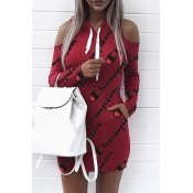 Euramerican Hooded Collar Cold-shoulder Letters Printed Red Polyester Mini Dress(Non Positioning Printing)