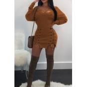 Ojal Con Cuello En V Diseño Mini Vestido De Poliéster Amarillo Con Cordones