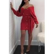 Vestido Con Cuello En V Sexy Sin Espalda Con Cuello Perla Y Mini Poliéster Rojo (con Cinturón)