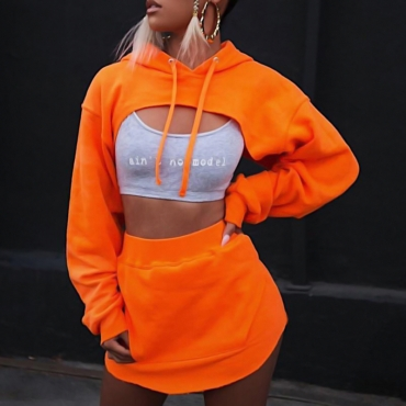 Casual Hooded Collar Irregular Patchwork Orange Blending Two-Piece   Skirt Set(Without Subcoating)